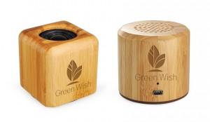 Lautsprecher Holz Bambus mit Logogravur