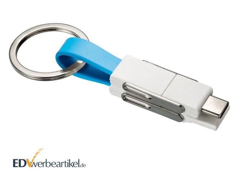 4in1 Mini Schnellladekabel 2A mit Typ C als Werbeartikel