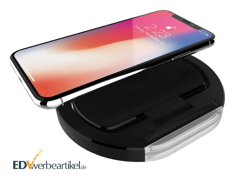 2in1 wireless charger werbeartikel mit standfunktion f r handy. Black Bedroom Furniture Sets. Home Design Ideas