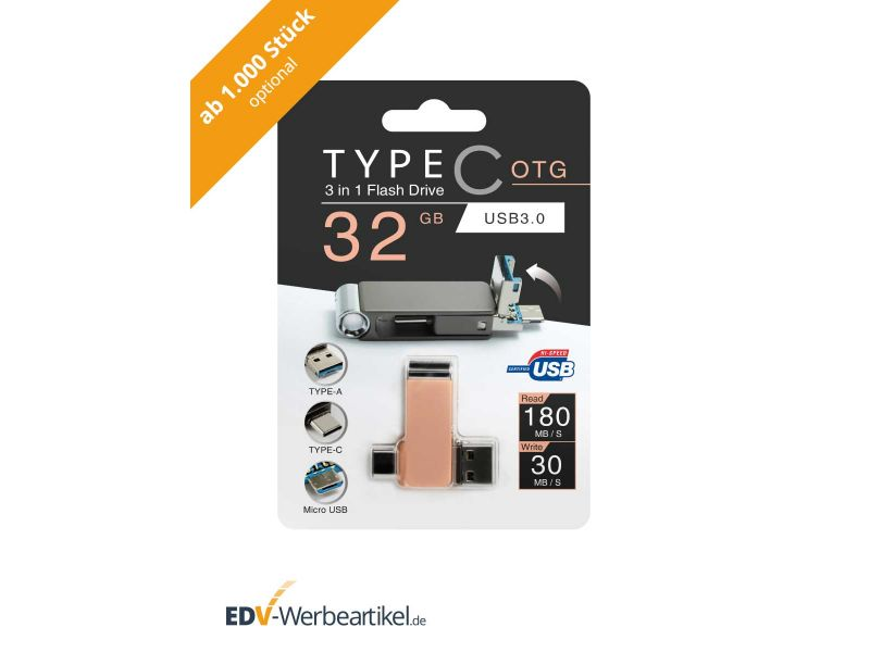3in1 USB Stick LOOK - optionale Umverpackung ab 1.000 Stk. Aufhängeschachtel mit Eurolochung