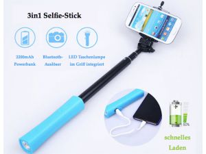 3in2 Selfie Stick Bluetooth Ausloser Smartphone schnell laden