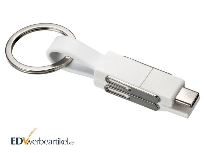 4in1 Mini Schnellladekabel 2A Schlüsselanhänger in weiß