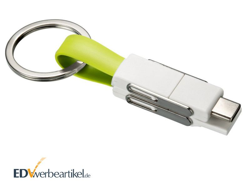 4in1 USB Schnellladekabel 2A Schlüsselanhänger in Grün als Streuartikel