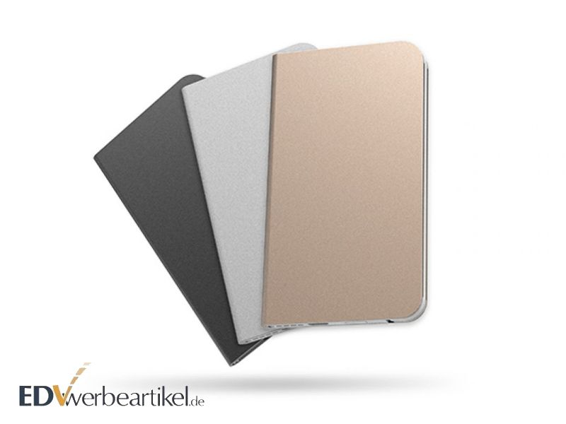 Alu Powerbank Kreditkarten Metallic Schwarz Silber Goldrose