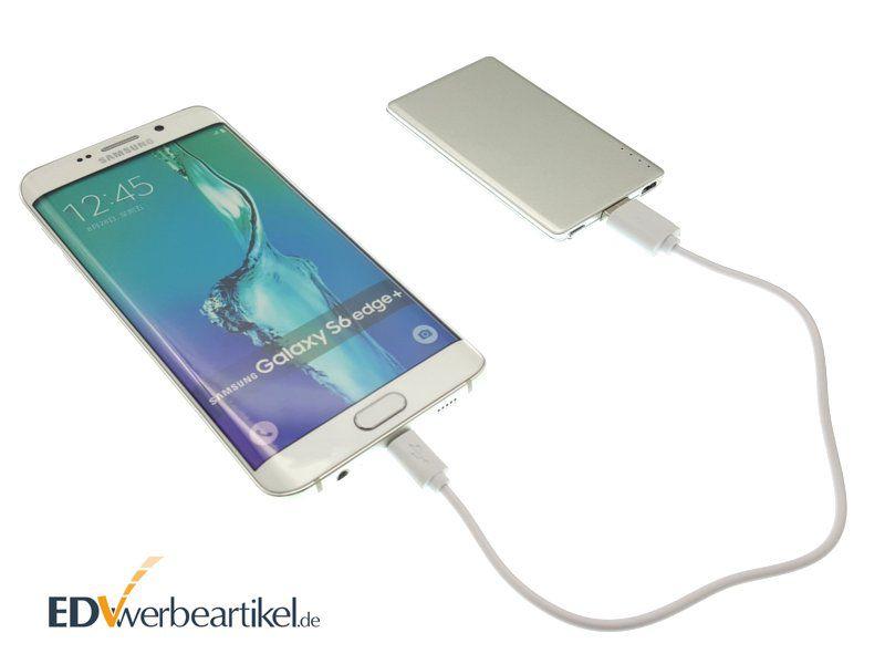 Aluminium Powerbank Visitenkarte ab Lager für Android Geräte mit Logo bedrucken