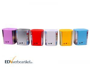 Bluetooth Lautsprecher bedrucken Werbemittel mit Logo Papier Inlay eingehüllt