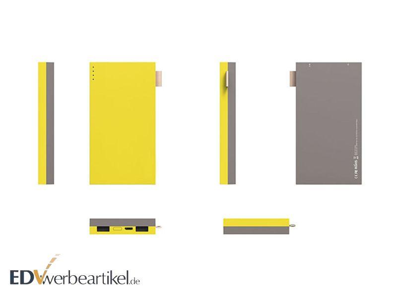 Powerbank yellow gelb mobiler akku 4000mAh 8000mAh