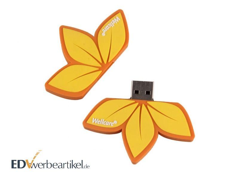 USB Stick 3D Sonderform Blume Flower mit Logo