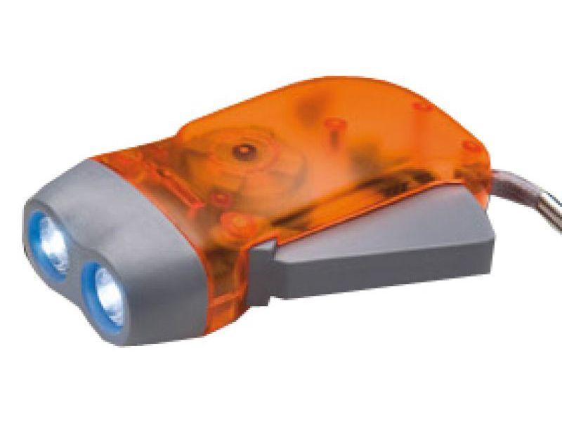Dynamo Taschenlampe als praktisches Werbegeschenk mit Togodruck - orange