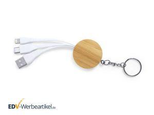 Bambus Schlüsselanhänger USB-Ladekabel ESSENTIAL