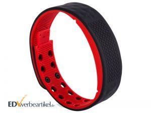 Times Square Fitness Armband Werbeartikel mit Logo bedrucken - schwarz rot