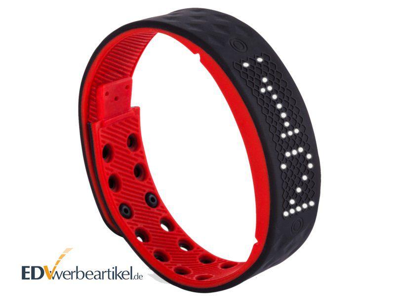 Times Square Fitness Armband Werbeartikel bedrucken mit Logo - rot schwarz