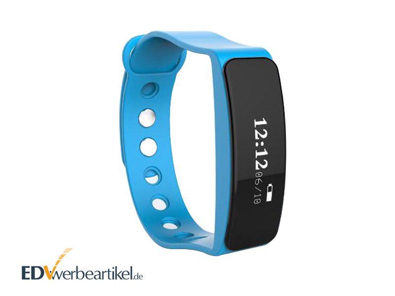 Fitness Werbeartikel Sport Armband mit Logo bedrucken - CHIC - blau