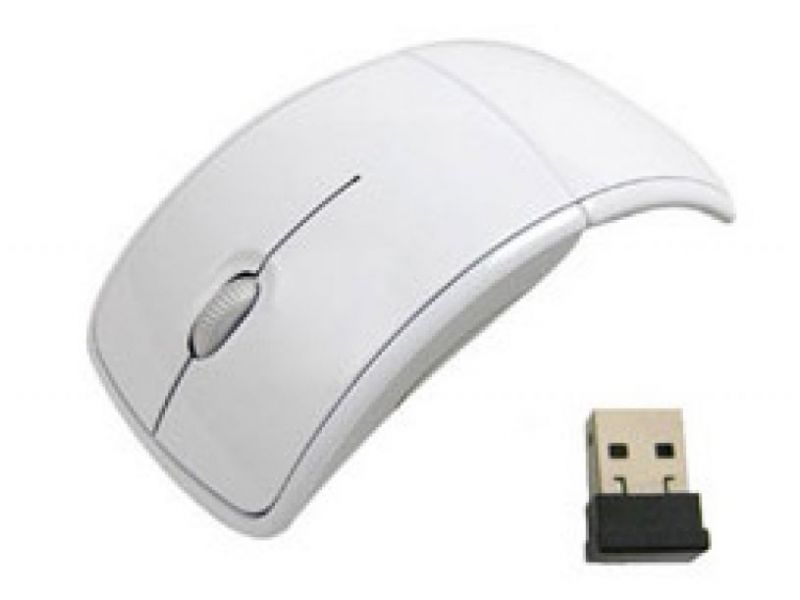 Zusammenklappbare Computer Maus mit USB Funk-Empfänger als Werbegeschenk