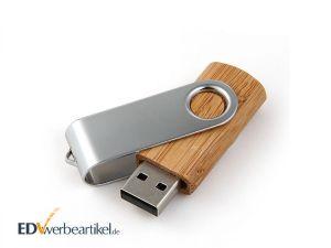 Holz USB Stick Twister Swing Flip mit Logo als Werbeartikel oder Werbemittel bedrucken