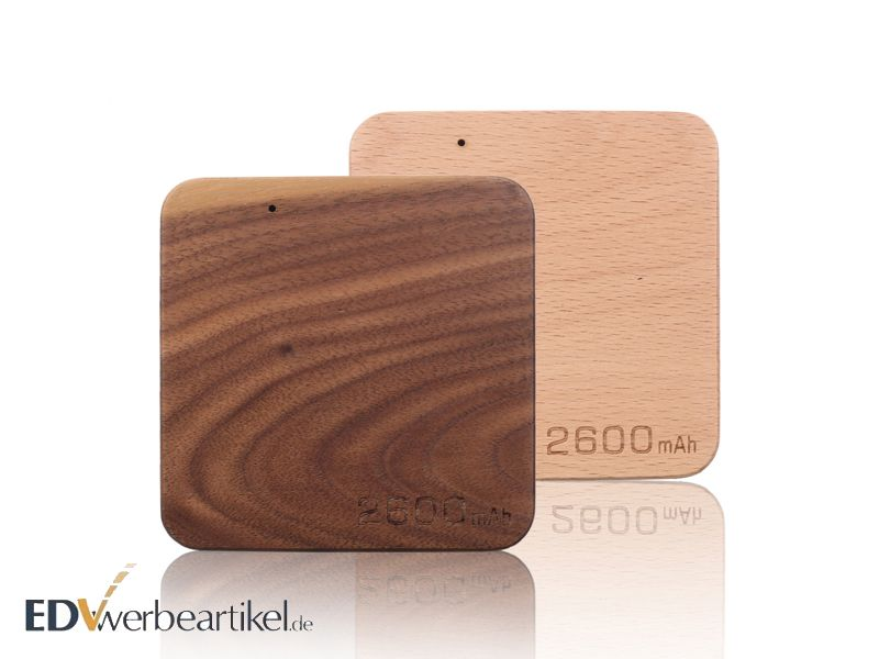 Holz Powerbank WOODEN flach 2600 mAh