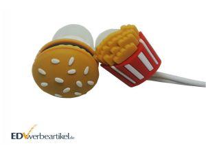 In Ear Kopfhörer Werbegeschenk - Pommes und Hamburger