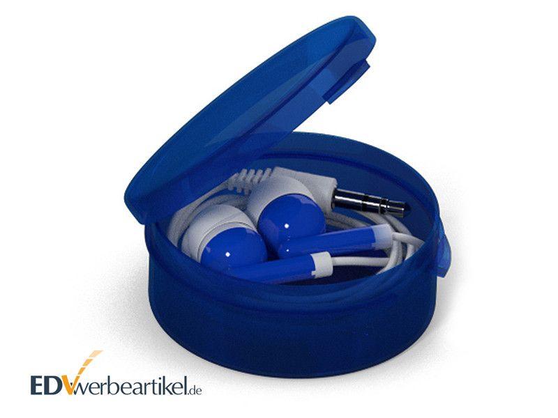 In-Ear Ohrhörer STEREO mit Kunststoff-Box - Blau