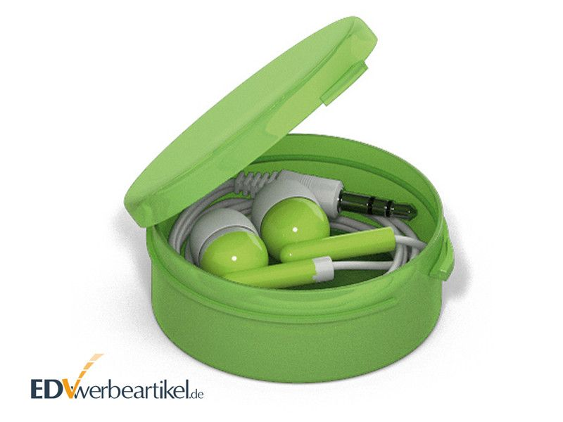 In-Ear Ohrhörer STEREO mit Kunststoff-Box - Grün