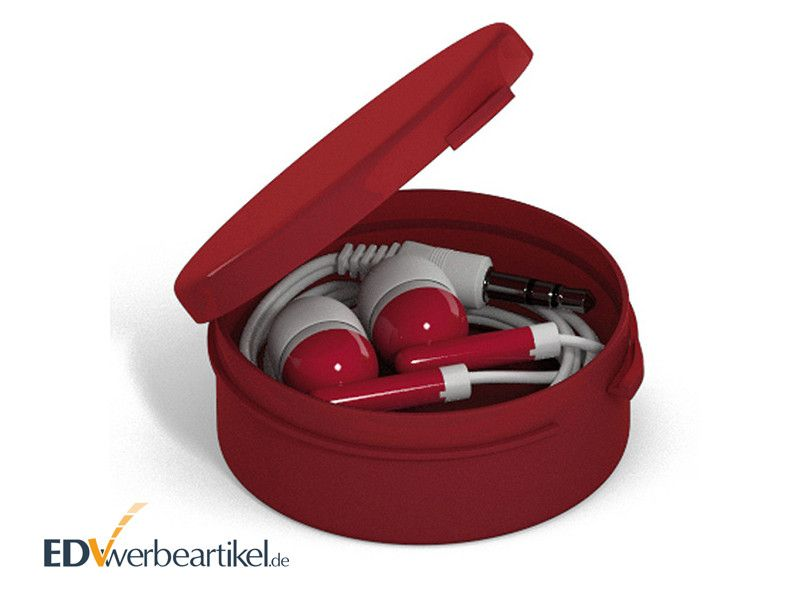 In-Ear Ohrhörer STEREO mit Kunststoff-Box - Rot