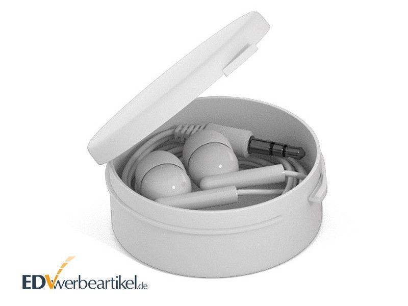 In-Ear Ohrhörer STEREO mit Kunststoff-Schachtel - Weiss