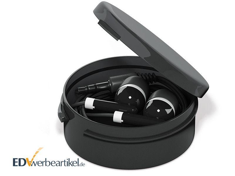 In-Ear Ohrhörer Werbeartikel STEREO mit Kunststoff-Box