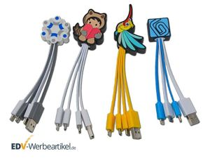 4-fach USB Ladekabel LOGO - 2x micro USB, 1x USB Type C, 1x USB 2.0 in Sonderform Wunschform
