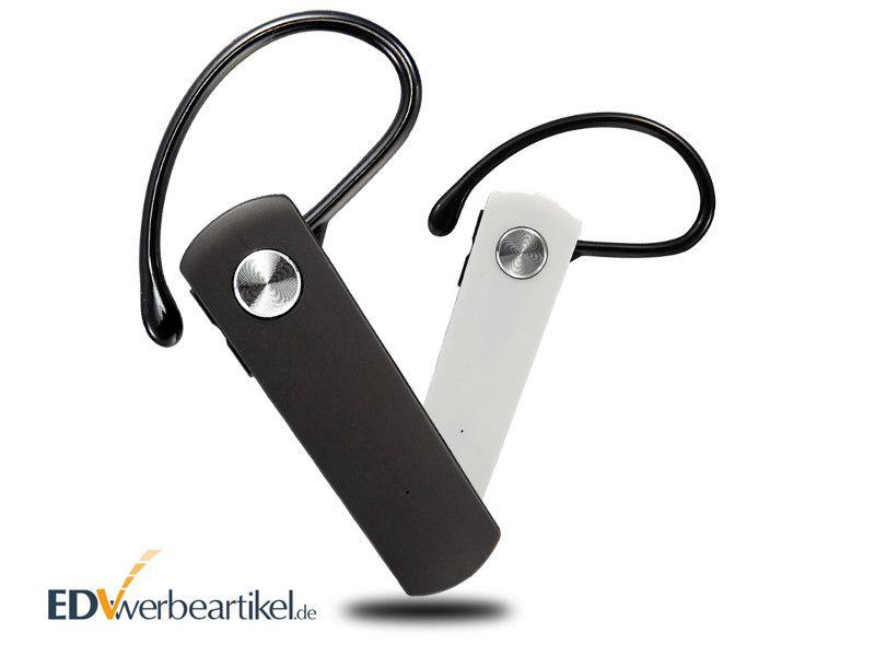 Kopfhörer Werbeartikel Bluetooth Mono Headset bedrucken - Mobile - Schwarz und Weiss - Werbegeschenk
