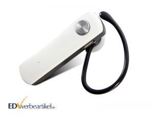 Kopfhörer Werbeartikel Bluetooth Mono Headset bedrucken mit Logo für Mobile - weiß, weiss
