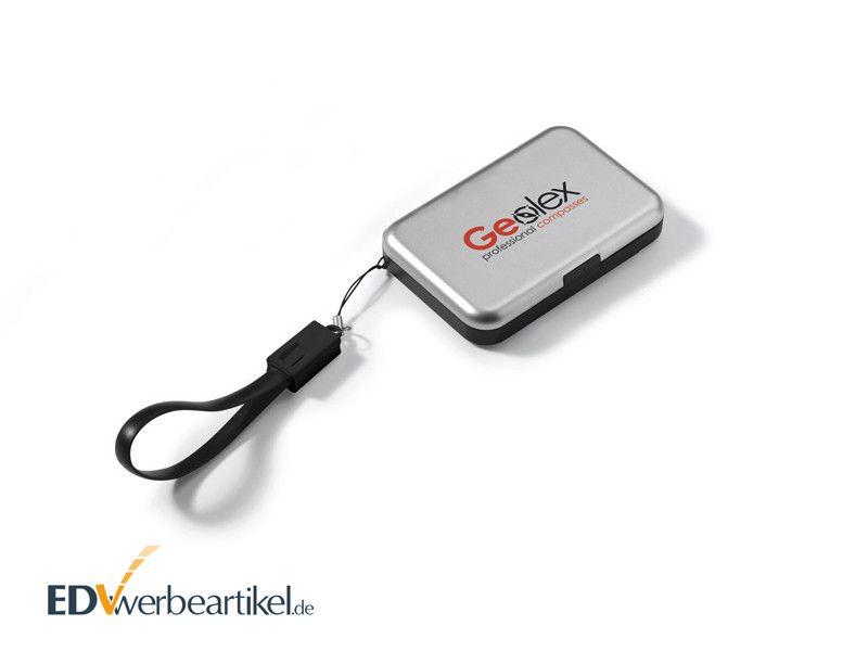 RFID Kreditkartenbox mit Powerbank aus Metall als Werbeartikel mit Logo