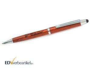 Kugelschreiber mit Touchpen aus HOLZ mit Logo gravieren