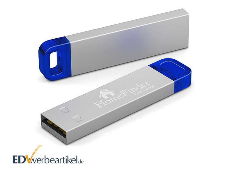 USB Stick LED METALL als Giveaway - blau