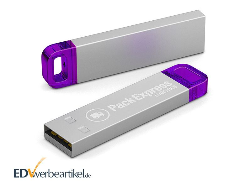USB Stick LED METALL als Werbeartikel - lila