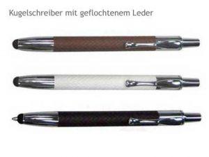 Stylus Kugelschreiber mit geflochtenem Leder-Griff in schwarz, weiss und braun