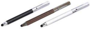 Leder Touchpen Stylus Eingabestift Rollerball, Tintenroller, in geflochtenem oder perforiertem Leder in schwarz, weiss und braun