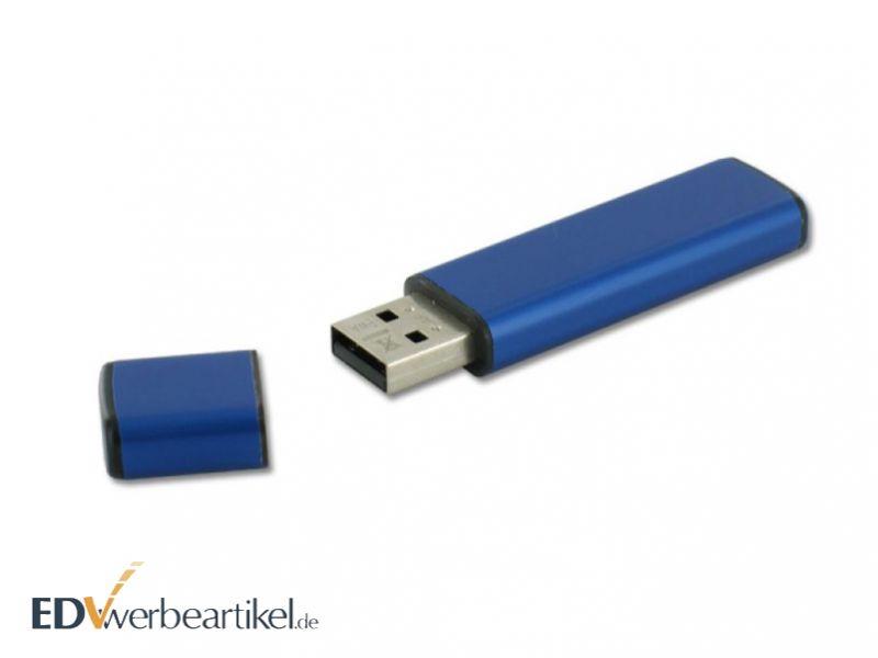 blauer USB Stick mit Logo als Werbeartikel