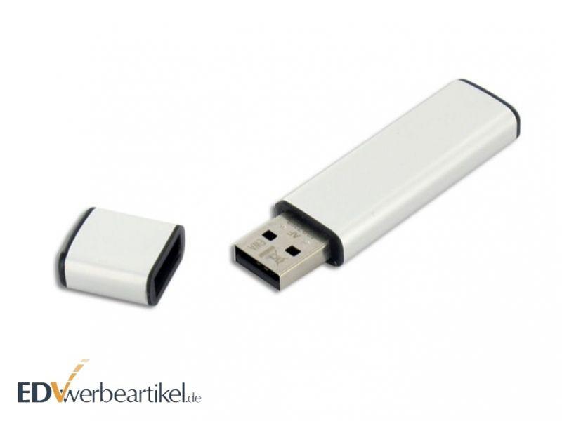 weisser USB Stick mit Firmenlogo als Werbeartikel bedrucken