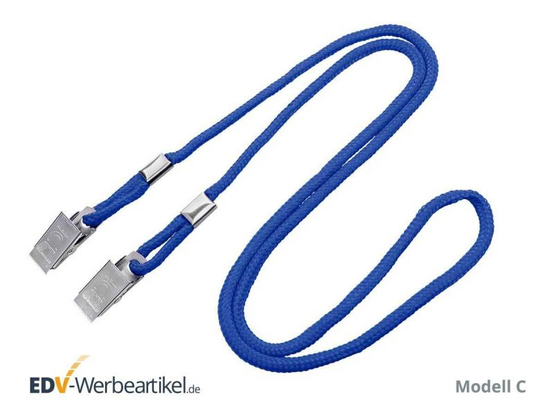 Masken-Lanyard DOUBLE CLIP - Metall Krokodilklemme rundes Band blau blue
