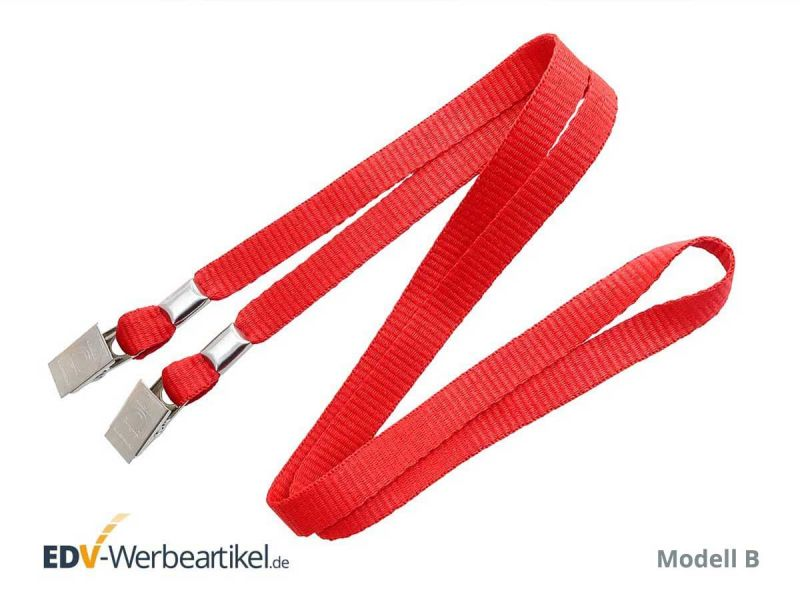 Masken-Lanyard DOUBLE CLIP - Metall Krokodilklemme flaches Band rot red