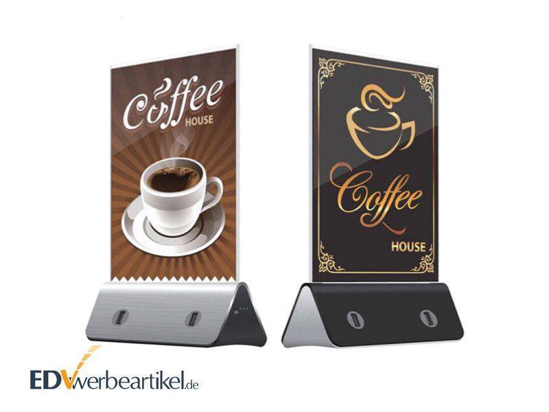 Menue Powerbank Tischaufsteller Speisekarten Halter Werbeartikel mit Logo bedrucken DISPLAY