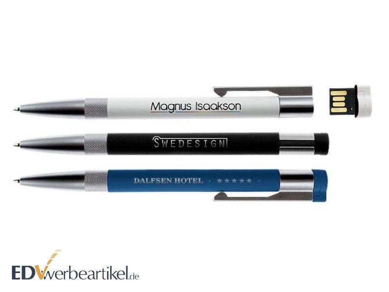 USB Kugelschreiber weiss blau schwarz