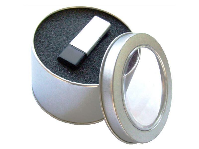 runde Metalldose mit Deckel, Sichtfenster und Schauminlay