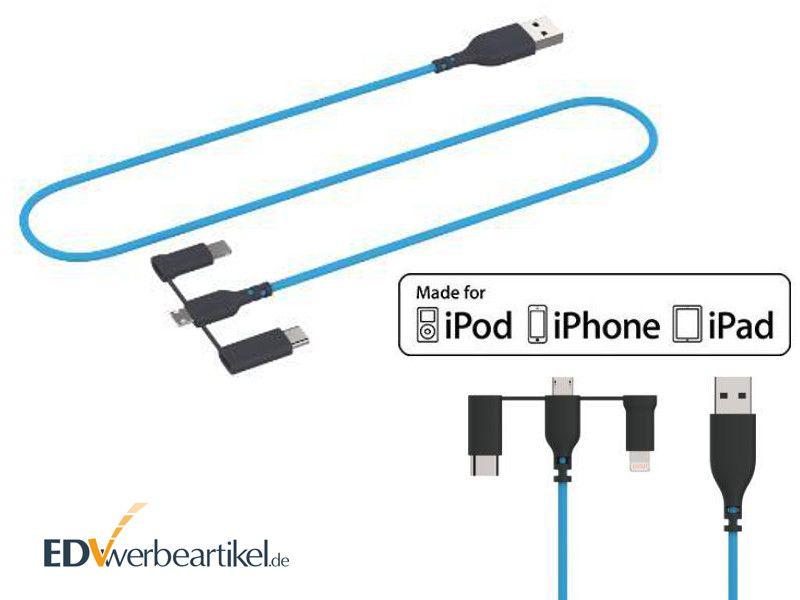 MFi Ladekabel Werbegeschenk mit Logo bedrucken Apple Lightning Micro USB Typ C