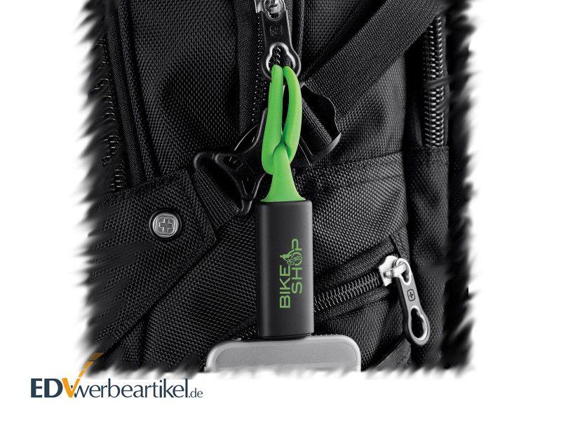 Mini Powerbank Schlüsselanhänger als Rucksack Give Away mit Logo bedrucken