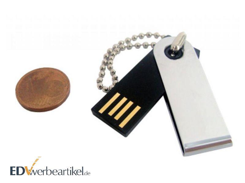 Mini USB Stick Flip als Schlüsselanhänger mit Logo bedrucken