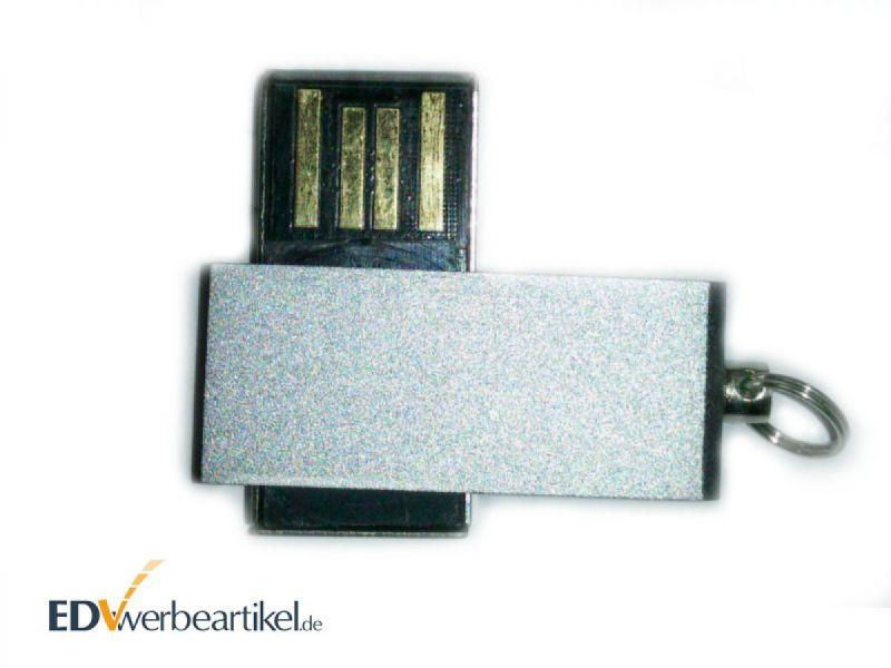 Mini USB Stick TWISTER Werbeartikel - in Silber