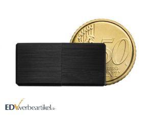 Mini USB Stick Werbeartikel aus Metall gebürstet - Schwarz