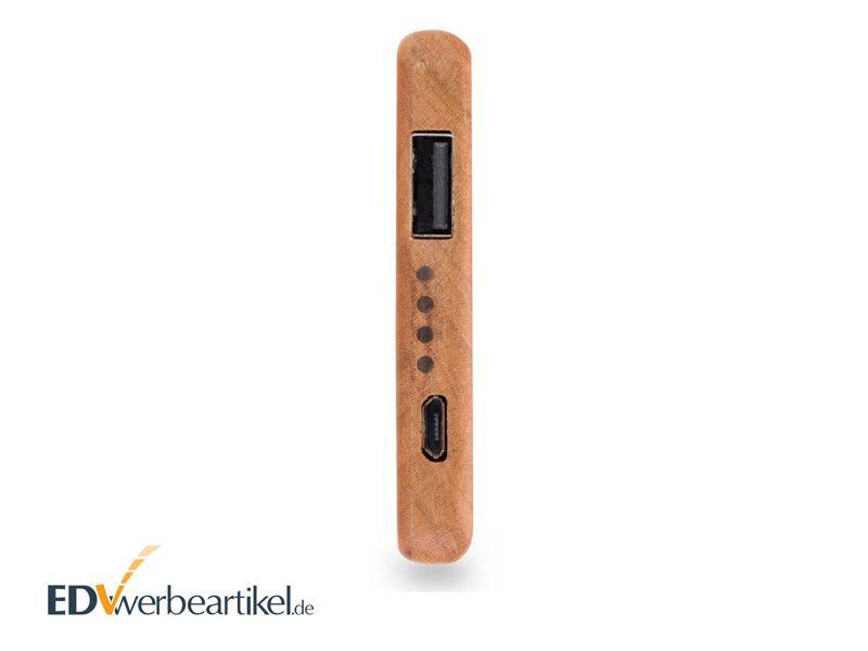 Holz Powerbank mit Firmenlogo gravieren WOODSTOCK 4000 mAh