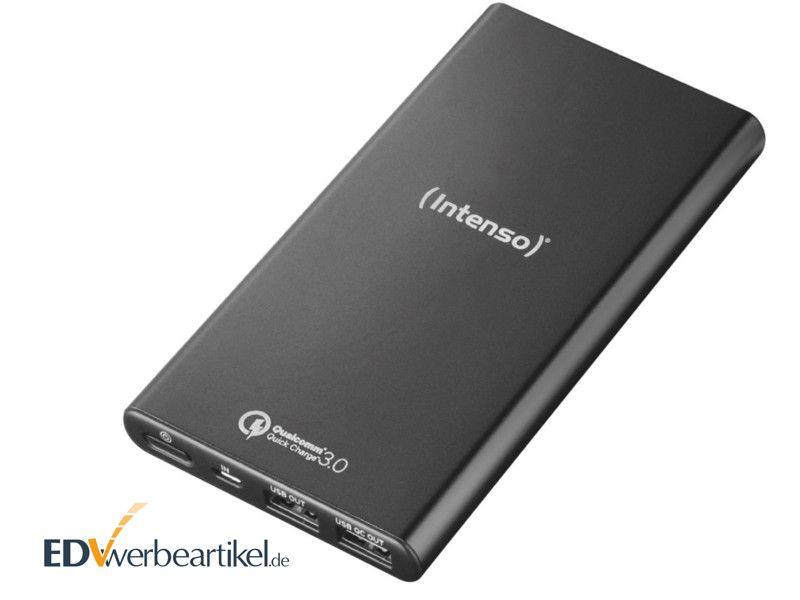 Powerbank Intenos Q10000 in Schwarz mit Logo als Werbegeschenk