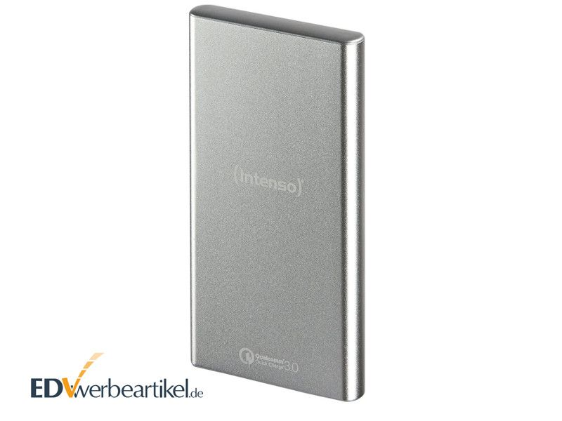 Powerbank Intenso Q10000 in Silber mit Logo als Werbeartikel